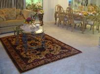 An ivory background Persian Varamin Rug decorates your home.